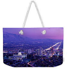 Usa, Utah, Salt Lake City, Aerial, Night Weekender Tote Bag