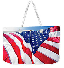 Weekender Tote Bag featuring the photograph Usa,american Flag,rhe Symbolic Of Liberty,freedom,patriotic,hono by Jingjits Photography