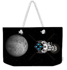 Weekender Tote Bag featuring the digital art Uss Savannah Passing Earth's Moon by David Robinson