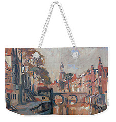 Weekender Tote Bag featuring the painting Utrecht Autumn Canal by Nop Briex