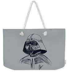 Weekender Tote Bag featuring the drawing Vader Sketch by Chris Thomas