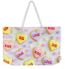 Weekender Tote Bag featuring the photograph Valentine Heart Cookies by Teri Virbickis