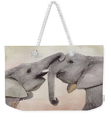 Valentine's Day Elephant Weekender Tote Bag by Annie Poitras