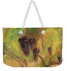 Weekender Tote Bag featuring the painting Valhalla Vineyard by Donna Tuten