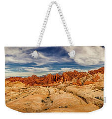 Weekender Tote Bag featuring the photograph Valley Of Fire Panorama by Rikk Flohr