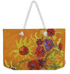 Van Gogh Starry Night Sunflowers Inspired Modern Impressionist Weekender Tote Bag