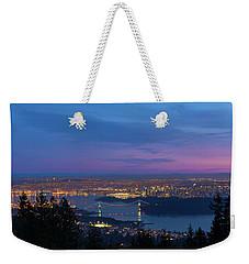 Vancouver Bc Cityscape Lions Gate Bridge Sunset Weekender Tote Bag