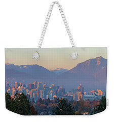 Vancouver Bc Downtown Cityscape At Sunset Panorama Weekender Tote Bag