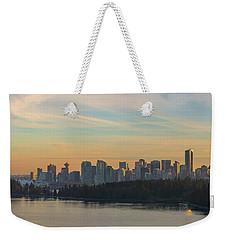 Vancouver Bc Skyline Along Stanley Park At Sunset Weekender Tote Bag