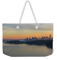 Vancouver Bc Skyline And Stanley Park At Sunset Weekender Tote Bag