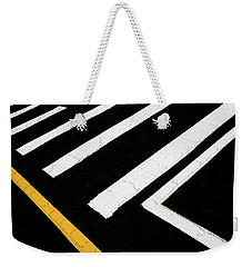 Weekender Tote Bag featuring the photograph Vanishing Traffic Lines With Colorful Edge by Gary Slawsky
