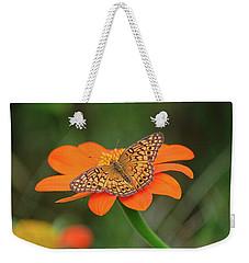 Variegated Fritillary On Flower Weekender Tote Bag