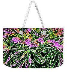 Variegated Leaves Pink And Green Weekender Tote Bag by Linda Phelps
