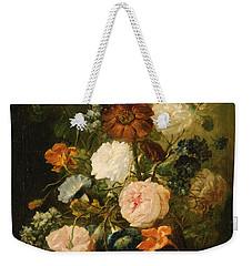 Weekender Tote Bag featuring the painting Vase Of Flowers by Follower of Jan van Huysum