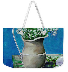 Vase On Table With Flowers Weekender Tote Bag