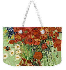 Weekender Tote Bag featuring the painting Vase With Daisies And Poppies by Van Gogh