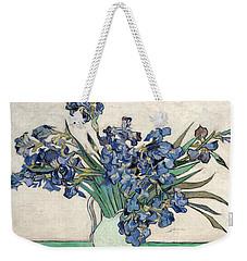 Weekender Tote Bag featuring the painting Vase With Irises by Van Gogh