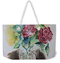 Vase With Red Roses Weekender Tote Bag