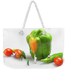Vegetable Painting Little People On Food Weekender Tote Bag by Paul Ge
