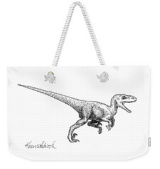 Velociraptor - Dinosaur Black And White Ink Drawing Weekender Tote Bag