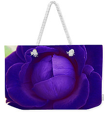 Velvet Blue Lettuce Rose Weekender Tote Bag by Samantha Thome
