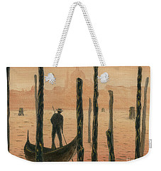 Venetian Gondolier In The Sunset Weekender Tote Bag