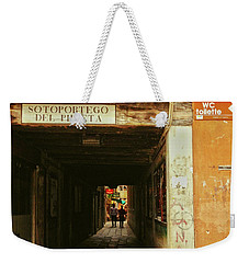 Weekender Tote Bag featuring the photograph Venetian Passage by Anne Kotan