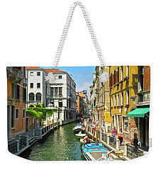 Weekender Tote Bag featuring the photograph Venetian Sunshine by Anne Kotan
