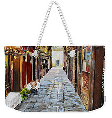 Weekender Tote Bag featuring the painting Venezia - Alley On Parangon In Venice by Jan Dappen