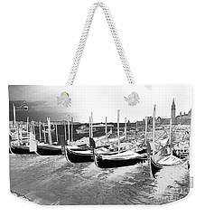 Weekender Tote Bag featuring the photograph Venice Gondolas Silver by Rebecca Margraf