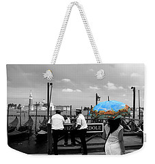 Weekender Tote Bag featuring the photograph Venice Umbrella by Andrew Fare