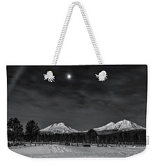 Weekender Tote Bag featuring the photograph Venus Over Three Sisters by Cat Connor
