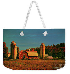 Weekender Tote Bag featuring the photograph Vermont Autumn Barn by Deborah Benoit