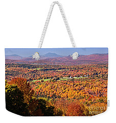 Weekender Tote Bag featuring the photograph Vermont Autumn Vista by Alan L Graham