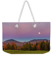 Vermont Fall, Full Moon And Belt Of Venus Weekender Tote Bag by Tim Kirchoff
