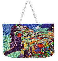 Vernazza Cinque Terre Italy 2 Modern Impressionist Palette Knife Oil Painting By Ana Maria Edulescu  Weekender Tote Bag