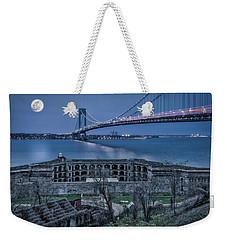 Weekender Tote Bag featuring the photograph Verrazano Narrows Bridge Full Moon by Susan Candelario
