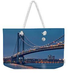Weekender Tote Bag featuring the photograph Verrazano Narrows Bridge Moon by Susan Candelario