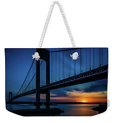 Weekender Tote Bag featuring the photograph Verrazano Sunset by Chris Lord