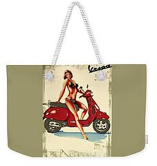 Vespa Girl - Vintage Poster Weekender Tote Bag
