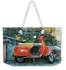 Weekender Tote Bag featuring the painting Vespa Parked by Jeff Kolker