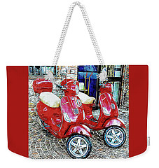 Vespa Twins Red Weekender Tote Bag