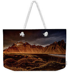 Weekender Tote Bag featuring the photograph Vestrahon With Sunglow by Allen Biedrzycki