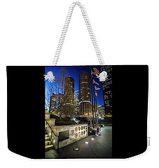 Veteran's Memorial On The Chicago Riverwalk At Dusk Weekender Tote Bag