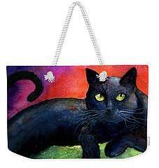 Vibrant Black Cat Watercolor Painting  Weekender Tote Bag