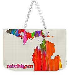 Vibrant Colorful Michigan State Map Painting Weekender Tote Bag by Design Turnpike