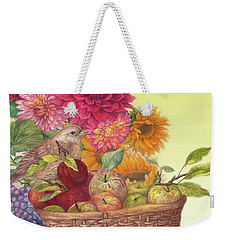 Weekender Tote Bag featuring the painting Vibrant Fall Florals And Harvest by Judith Cheng