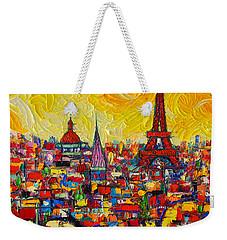 Vibrant Paris Abstract Cityscape Impasto Modern Impressionist Palette Knife Oil Ana Maria Edulescu Weekender Tote Bag