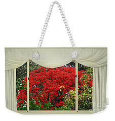 Weekender Tote Bag featuring the photograph Vibrant Red Blossoms Window View By Kaye Menner by Kaye Menner
