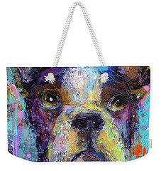 Vibrant Whimsical Boston Terrier Puppy Dog Painting Weekender Tote Bag